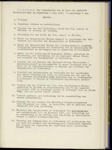 Notulen van de gemeenteraad van Leeuwarderadeel 1948-06-03