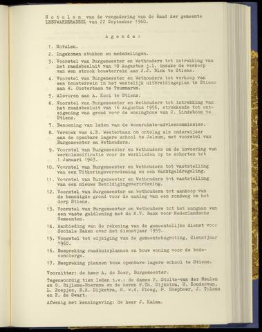 Notulen van de gemeenteraad van Leeuwarderadeel 1960-09-22