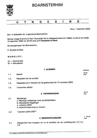 Boarnsterhim vergaderstukken gemeenteraad  2006-12-12