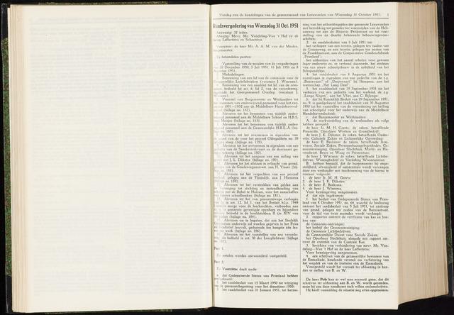 Raadsverslagen van de gemeente Leeuwarden, 1865-2007 (Notulen) 1951-10-31