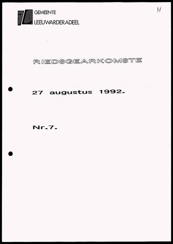 Notulen van de gemeenteraad van Leeuwarderadeel 1992-08-27
