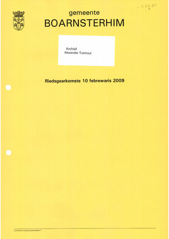 Boarnsterhim vergaderstukken gemeenteraad  2009-02-10
