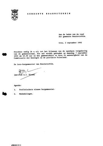 Boarnsterhim vergaderstukken gemeenteraad  1992-09-07
