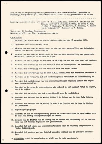 Notulen van de gemeenteraad van Leeuwarderadeel 1971-09-30