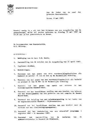 Boarnsterhim vergaderstukken gemeenteraad  1987-05-19