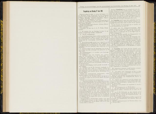 Raadsverslagen van de gemeente Leeuwarden, 1865-2007 (Notulen) 1916-06-27