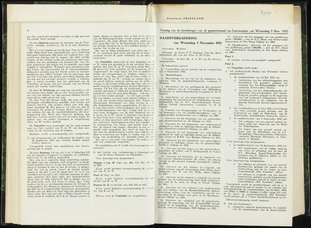 Raadsverslagen van de gemeente Leeuwarden, 1865-2007 (Notulen) 1952-11-05