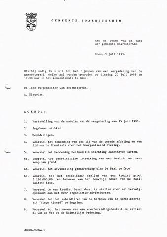 Boarnsterhim vergaderstukken gemeenteraad  1993-07-20