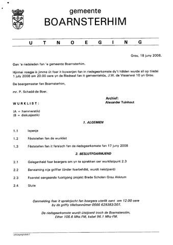 Boarnsterhim vergaderstukken gemeenteraad  2008-07-01