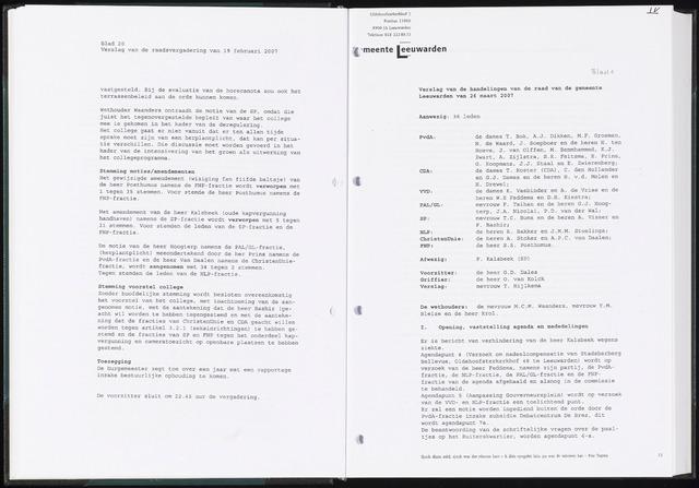 Raadsverslagen van de gemeente Leeuwarden, 1865-2007 (Notulen) 2007-03-26