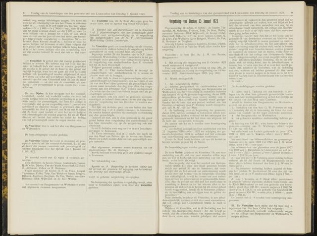 Raadsverslagen van de gemeente Leeuwarden, 1865-2007 (Notulen) 1923-01-23