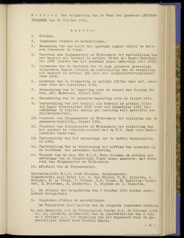 Notulen van de gemeenteraad van Leeuwarderadeel 1951-10-31