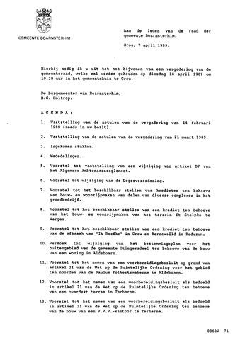 Boarnsterhim vergaderstukken gemeenteraad  1989-04-18