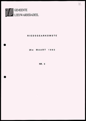 Notulen van de gemeenteraad van Leeuwarderadeel 1993-03-25