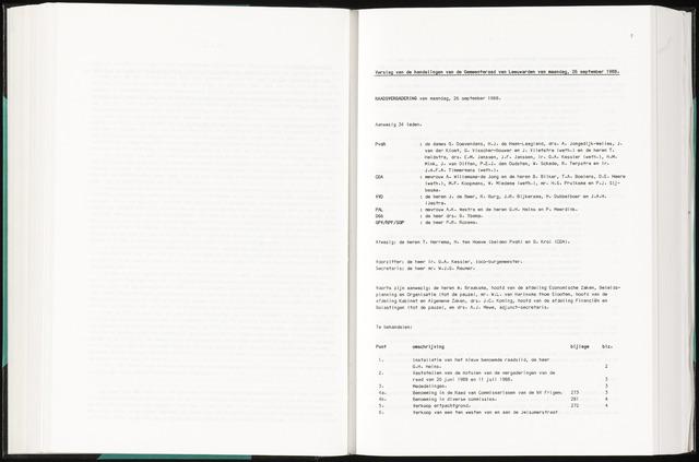 Raadsverslagen van de gemeente Leeuwarden, 1865-2007 (Notulen) 1988-09-26