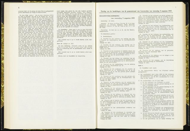 Raadsverslagen van de gemeente Leeuwarden, 1865-2007 (Notulen) 1959-08-05