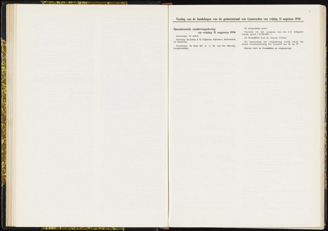 Raadsverslagen van de gemeente Leeuwarden, 1865-2007 (Notulen) 1956-08-31