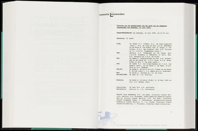 Raadsverslagen van de gemeente Leeuwarden, 1865-2007 (Notulen) 1995-06-12
