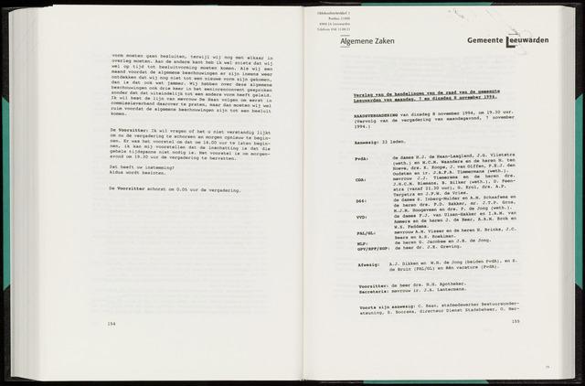 Raadsverslagen van de gemeente Leeuwarden, 1865-2007 (Notulen) 1994-11-08