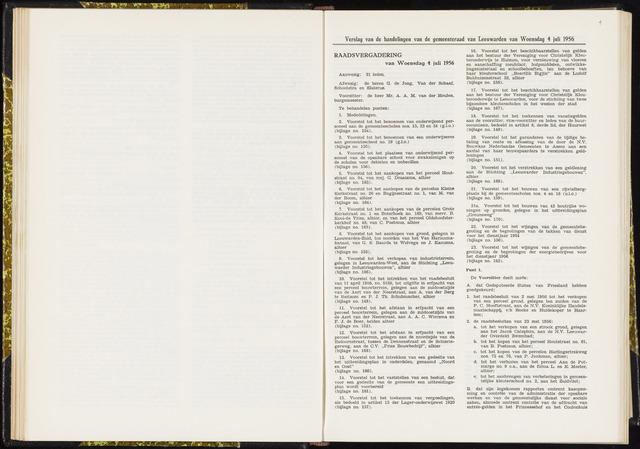 Raadsverslagen van de gemeente Leeuwarden, 1865-2007 (Notulen) 1956-07-04