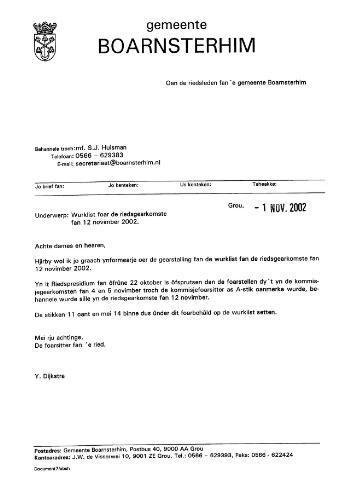 Boarnsterhim vergaderstukken gemeenteraad  2002-11-12