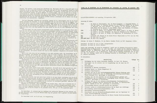 Raadsverslagen van de gemeente Leeuwarden, 1865-2007 (Notulen) 1987-09-28