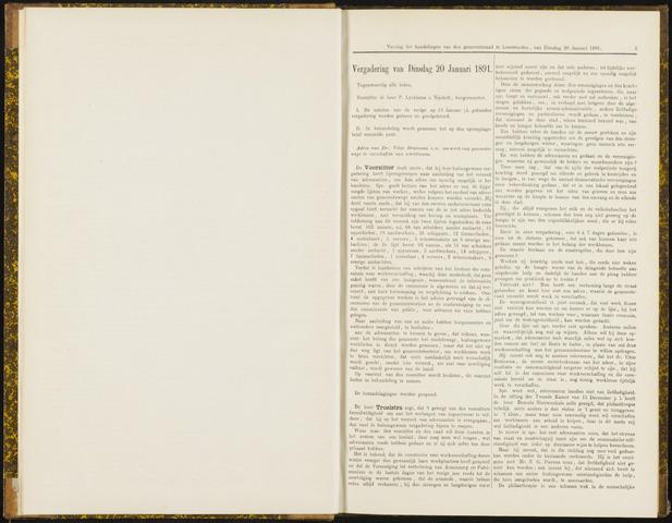 Raadsverslagen van de gemeente Leeuwarden, 1865-2007 (Notulen) 1891-01-20