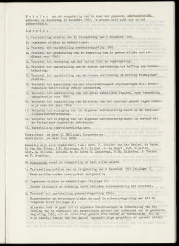 Notulen van de gemeenteraad van Leeuwarderadeel 1965-12-30