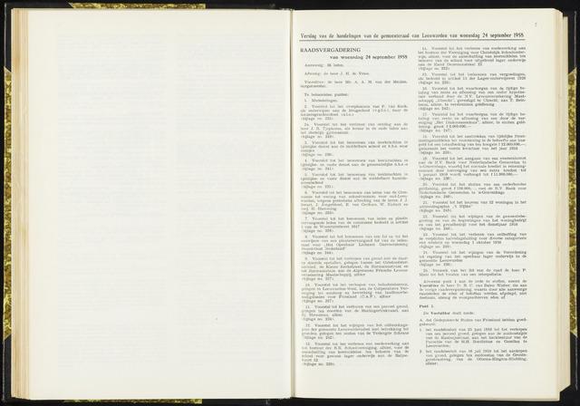 Raadsverslagen van de gemeente Leeuwarden, 1865-2007 (Notulen) 1958-09-24