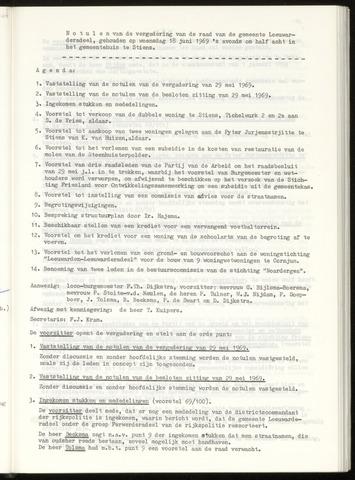 Notulen van de gemeenteraad van Leeuwarderadeel 1969-06-18