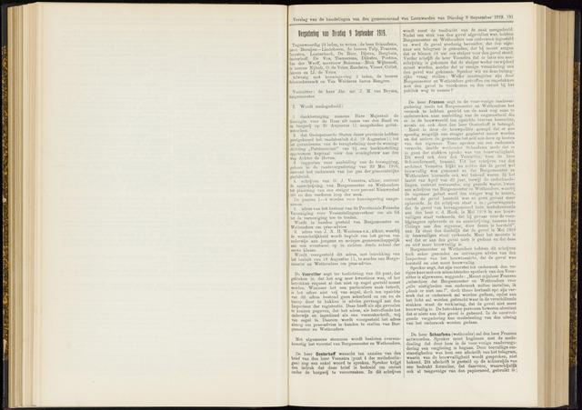Raadsverslagen van de gemeente Leeuwarden, 1865-2007 (Notulen) 1919-09-09