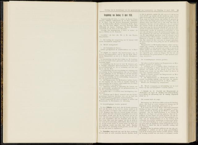 Raadsverslagen van de gemeente Leeuwarden, 1865-2007 (Notulen) 1926-04-13