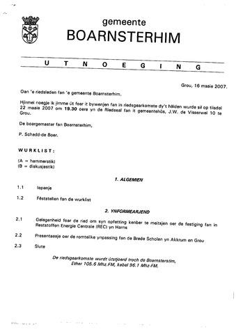 Boarnsterhim vergaderstukken gemeenteraad  2007-05-15