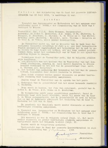 Notulen van de gemeenteraad van Leeuwarderadeel 1950-07-10