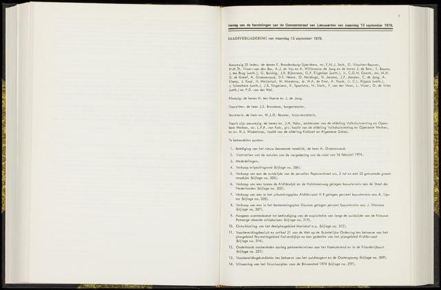Raadsverslagen van de gemeente Leeuwarden, 1865-2007 (Notulen) 1976-09-13