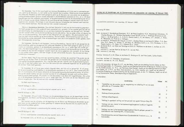 Raadsverslagen van de gemeente Leeuwarden, 1865-2007 (Notulen) 1982-02-22