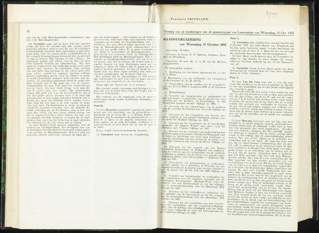 Raadsverslagen van de gemeente Leeuwarden, 1865-2007 (Notulen) 1952-10-15