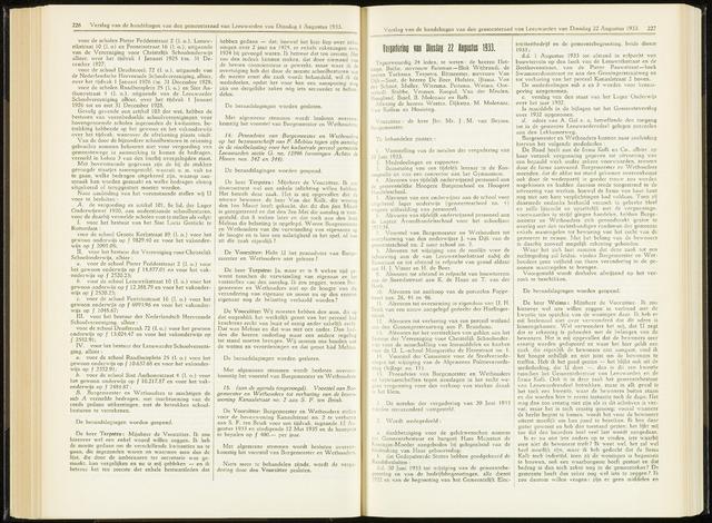 Raadsverslagen van de gemeente Leeuwarden, 1865-2007 (Notulen) 1933-08-22