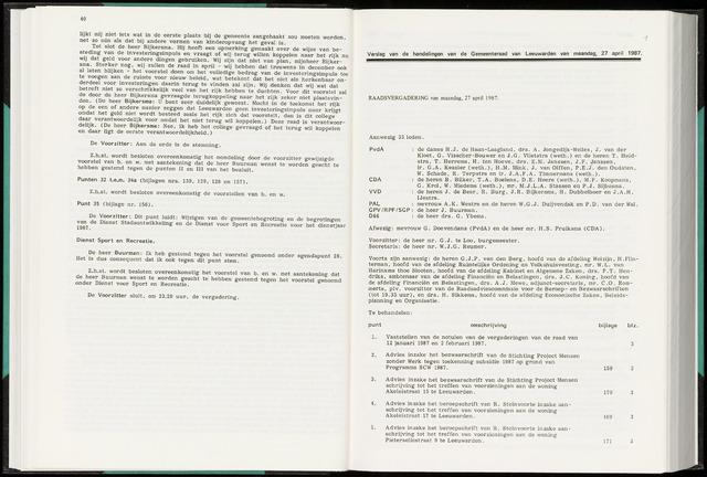 Raadsverslagen van de gemeente Leeuwarden, 1865-2007 (Notulen) 1987-04-27