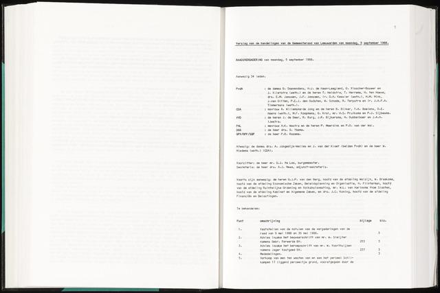 Raadsverslagen van de gemeente Leeuwarden, 1865-2007 (Notulen) 1988-09-05