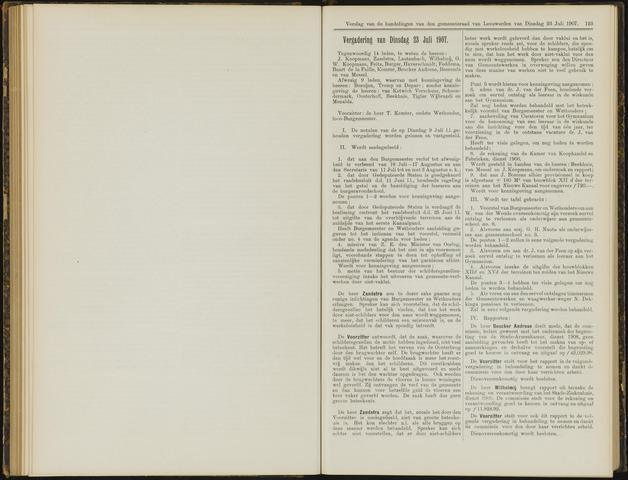 Raadsverslagen van de gemeente Leeuwarden, 1865-2007 (Notulen) 1907-07-23