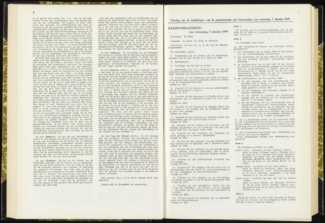 Raadsverslagen van de gemeente Leeuwarden, 1865-2007 (Notulen) 1959-10-07