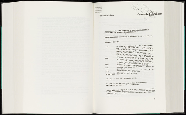 Raadsverslagen van de gemeente Leeuwarden, 1865-2007 (Notulen) 1993-09-06