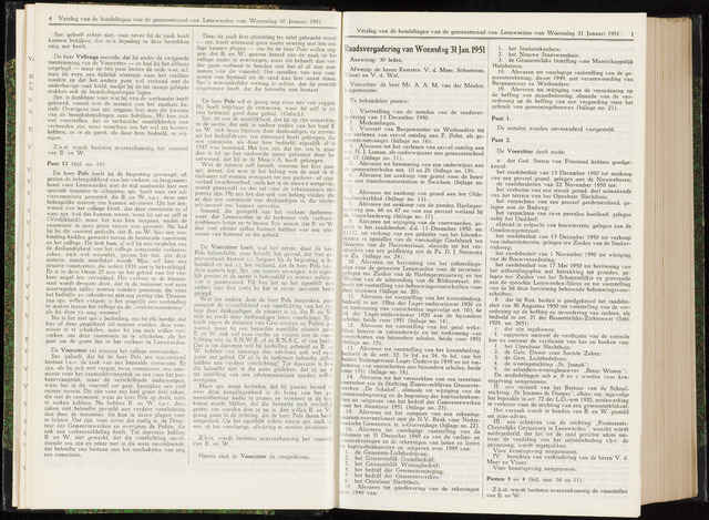 Raadsverslagen van de gemeente Leeuwarden, 1865-2007 (Notulen) 1951-01-31