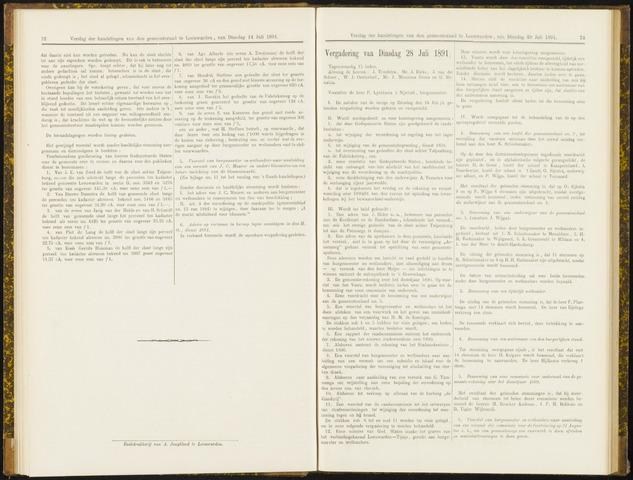 Raadsverslagen van de gemeente Leeuwarden, 1865-2007 (Notulen) 1891-07-28