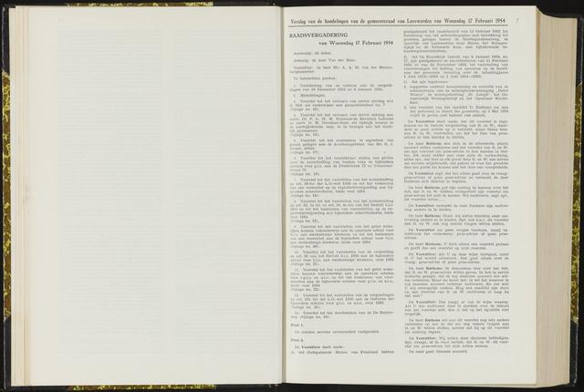 Raadsverslagen van de gemeente Leeuwarden, 1865-2007 (Notulen) 1954-02-17