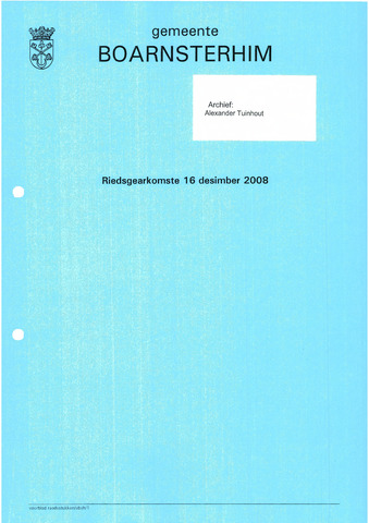 Boarnsterhim vergaderstukken gemeenteraad  2008-12-16