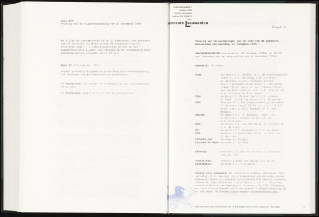 Raadsverslagen van de gemeente Leeuwarden, 1865-2007 (Notulen) 1999-12-20