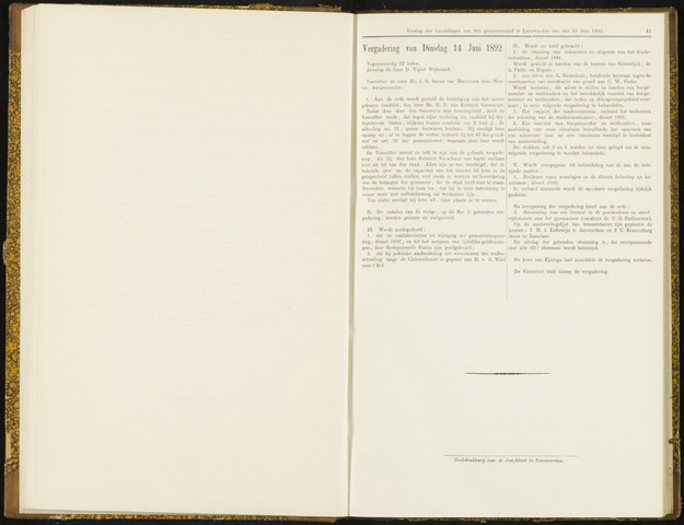 Raadsverslagen van de gemeente Leeuwarden, 1865-2007 (Notulen) 1892-06-14