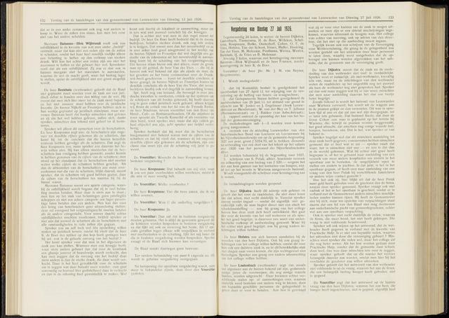 Raadsverslagen van de gemeente Leeuwarden, 1865-2007 (Notulen) 1926-07-27
